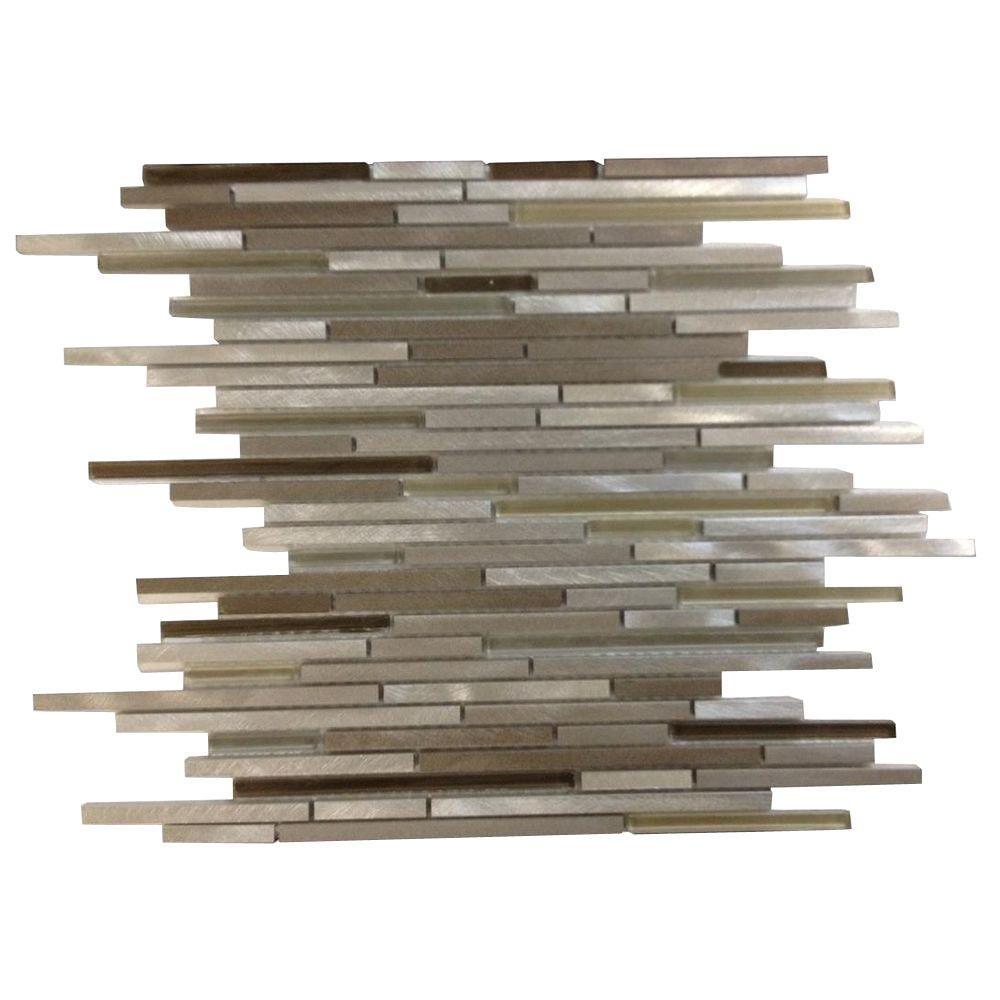 Urban Frozen Sandy 11-3/4 in. x 11-3/4 in. x 8 mm Metal Mosaic Tile