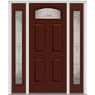 64 in. x 80 in. Master Nouveau Right-Hand Inswing Cambertop Decorative Painted Steel Prehung Front Door with Sidelites