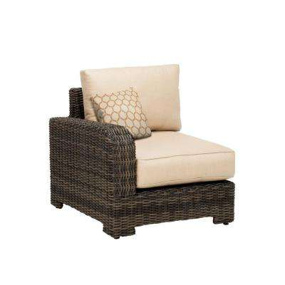 Northshore Left Arm Patio Sectional Chair with Harvest Cushion and Tessa Barley Throw Pillow -- CUSTOM