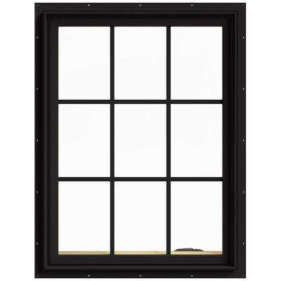 30 in. x 40 in. W-2500 Series Black Painted Clad Wood Right-Handed Casement Window with Colonial Grids/Grilles