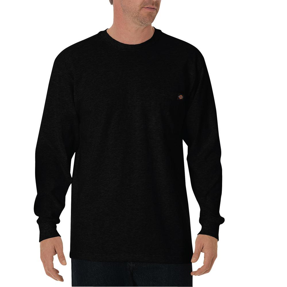 e4d284225d2b Dickies Long Sleeve Heavyweight Crew Neck Tee-Black-WL450BK 2X - The ...