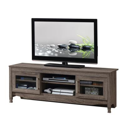 Techni Mobili 16 in. Gray Wood TV Stand Fits TVs Up to 65 in. with Storage Doors
