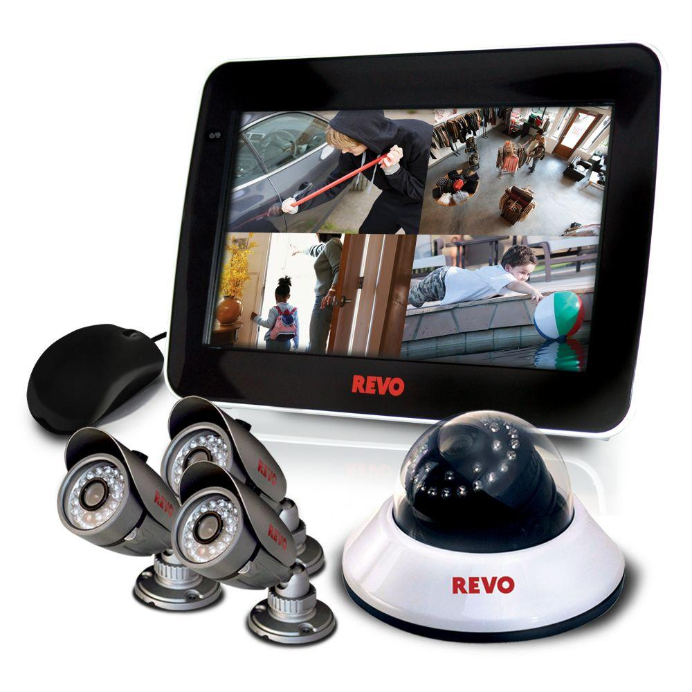 Revo 4 CH 1TB DVR4 Surveillance System with 10.5 in. Built-in Monitor and (4) 600 TVL 80 ft. Nightvision Cameras