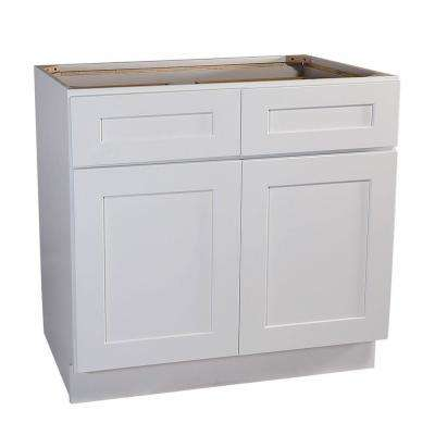 Brookings Plywood Ready to Assemble Shaker 48x34.5x24 in. 2-Door 2-Drawer Base Kitchen Cabinet in White