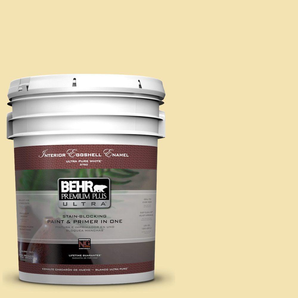 5 gal. #370C-3 Sweet Corn Eggshell Enamel Interior Paint and Primer