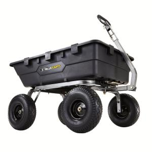 Click here to buy Gorilla Carts 1,500 lb. Super Heavy-Duty Poly Dump Cart by Gorilla Carts.
