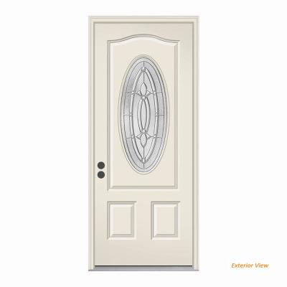 36 in. x 80 in. 3/4 Oval Lite Blakely Primed Steel Prehung Right-Hand Inswing Front Door