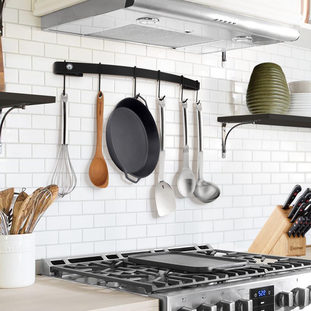 kitchen wall coffee maker, kitchen wall stand, wall pot rack, kitchen wall pan storage, on black wall kitchen pan rack