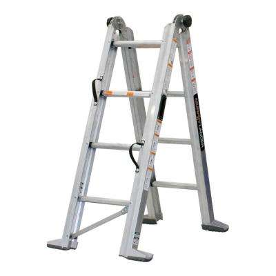 9 ft. Height 12 ft. Reach Aluminum Fully Compactable Multi-Position Ladder 375 lbs. Load Capacity Type IAA Duty Rating