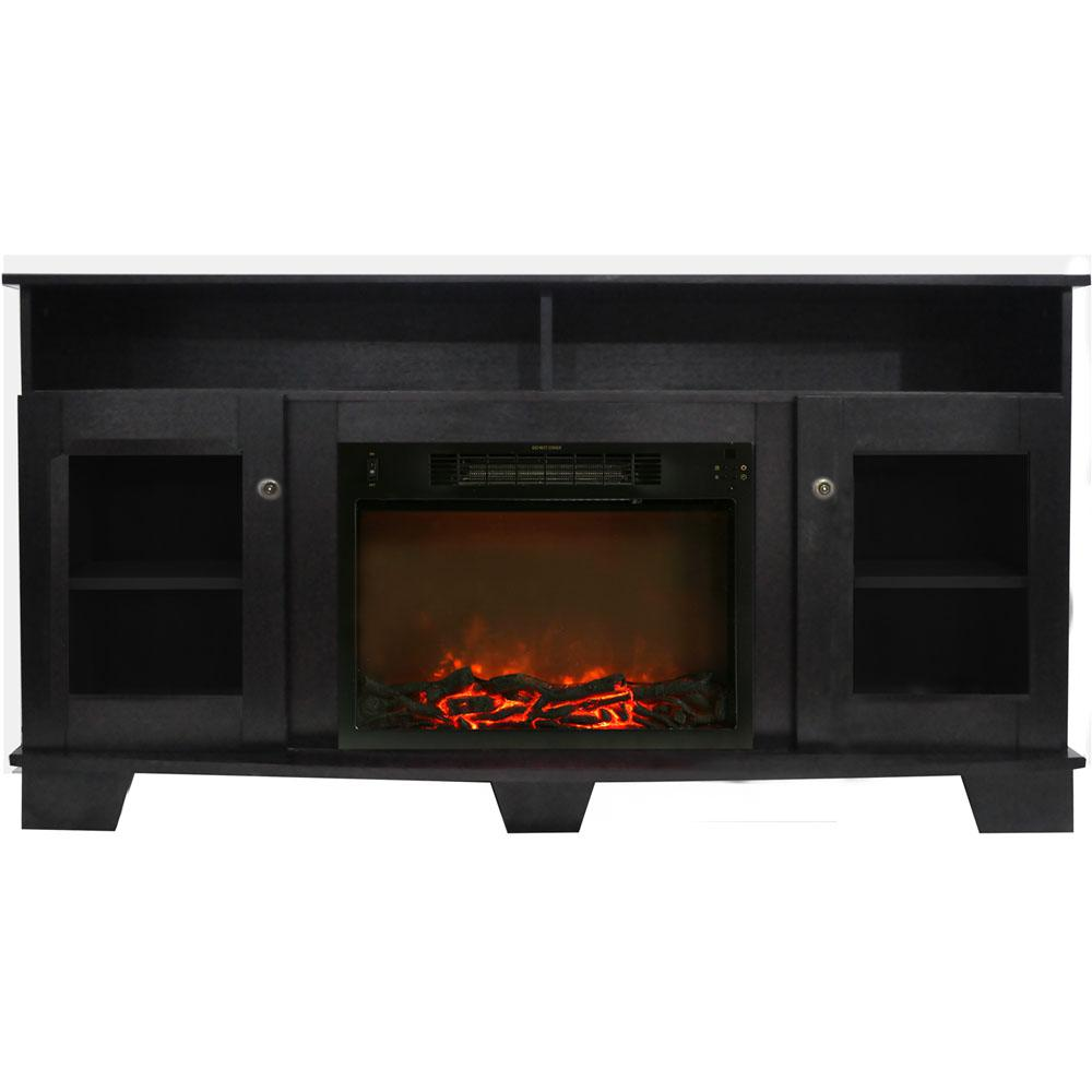 Savona 59 in. Electric Fireplace in Black Coffee with Entertainment Stand