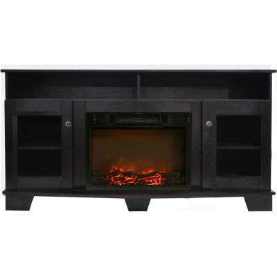 Savona 59 in. Electric Fireplace in Black Coffee with Entertainment Stand and Charred Log Display