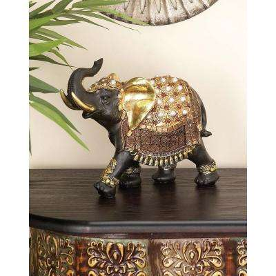 9 in. x 10 in. Parade Elephant Decorative Figurine in Colored Polystone