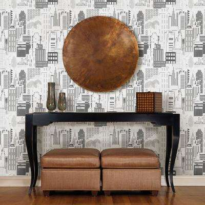 Black City Motif Wallpaper