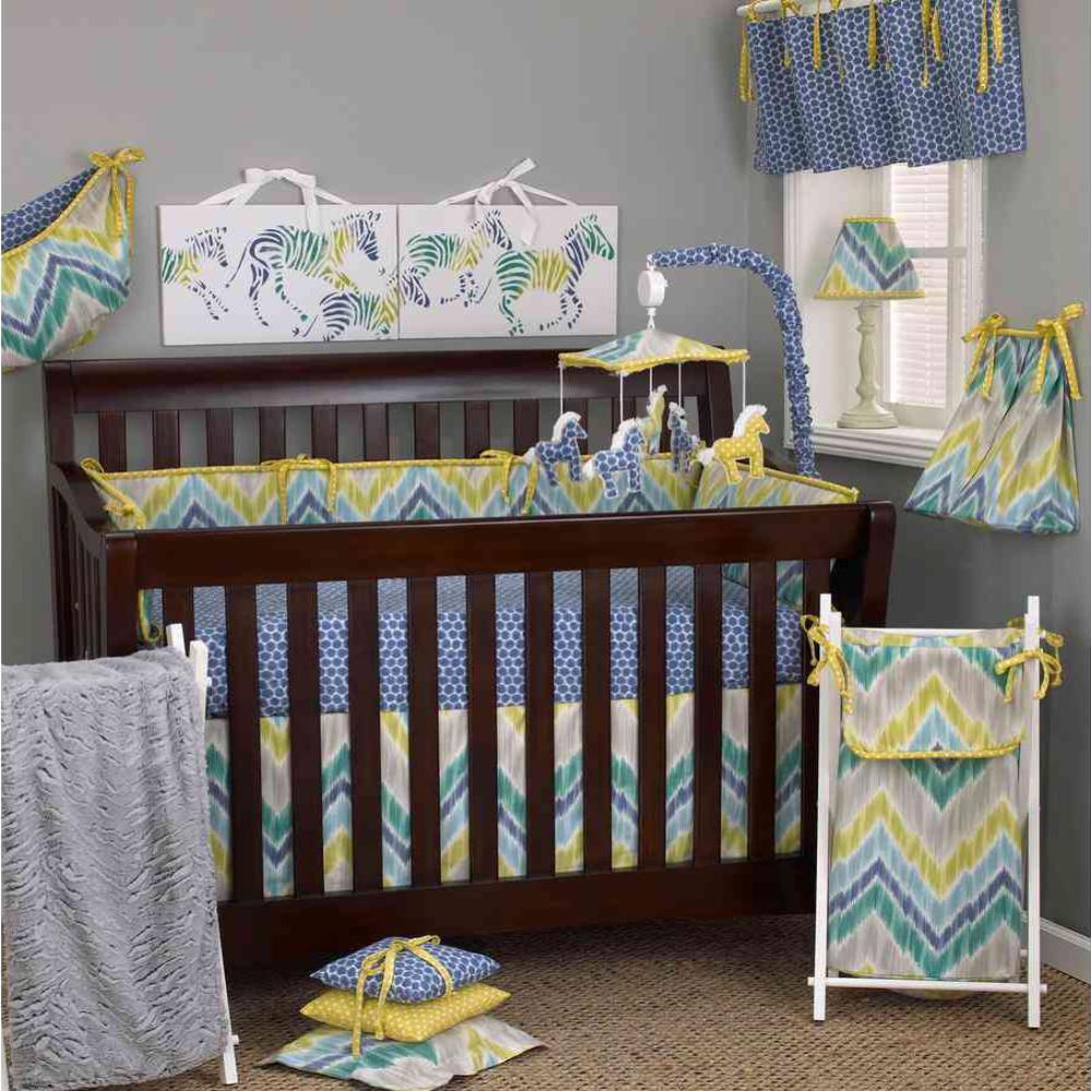 Zebra Romp Cotton 4 Sectional Crib Bumper Pads