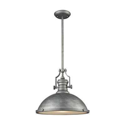 Chadwick 1-Light Weathered Zinc with Frosted Glass Diffuser Pendant