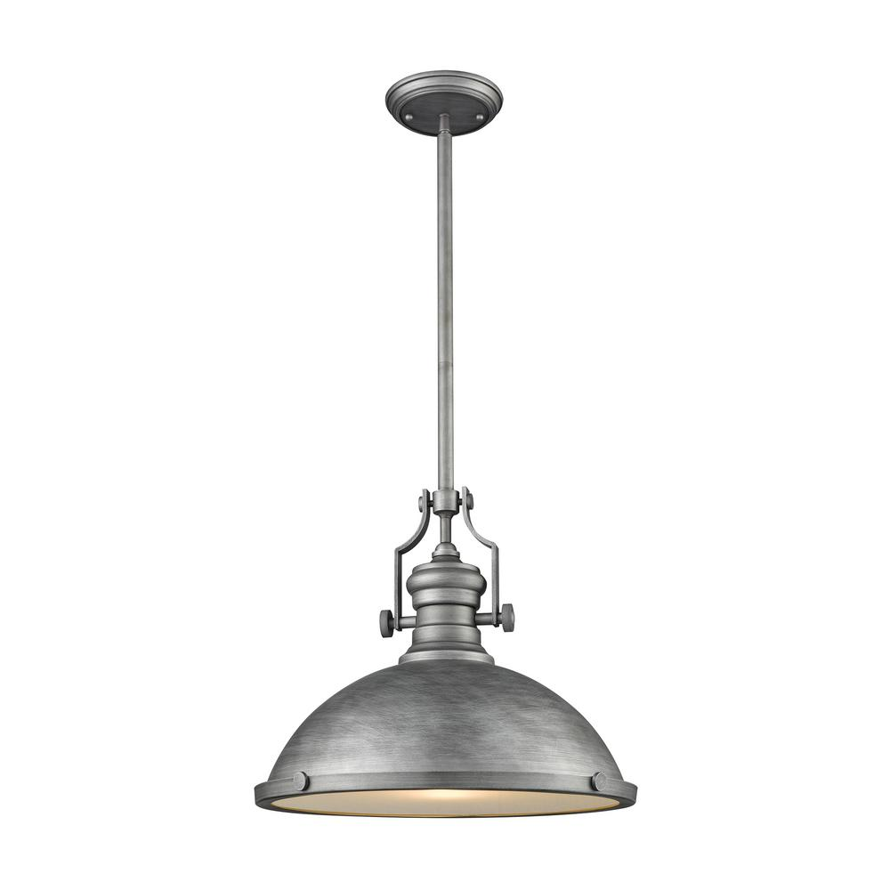 Titan Lighting Chadwick 1-Light Weathered Zinc with Frosted Glass Diffuser Pendant  sc 1 st  Home Depot & Titan Lighting Chadwick 1-Light Weathered Zinc with Frosted Glass ...