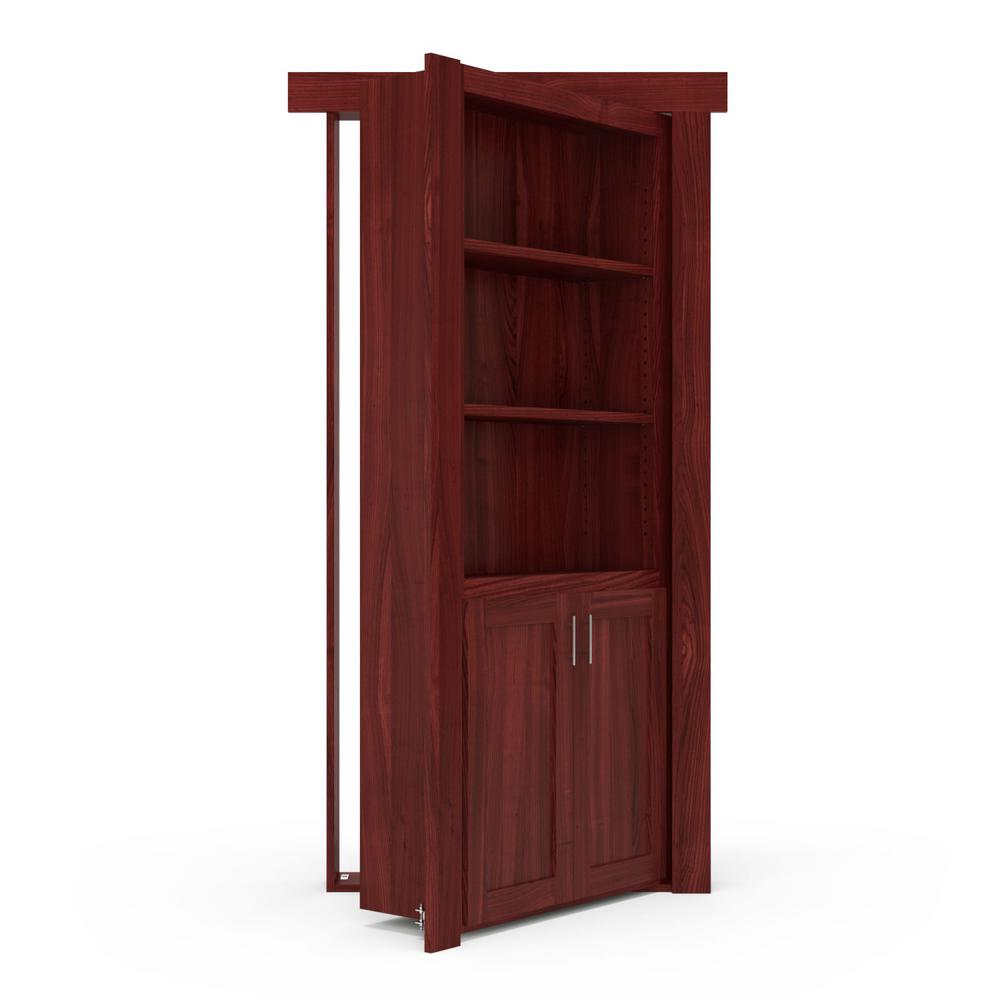 The Murphy Door 36 in. x 80 in. Flush Mount Assembled Laundry Door Cherry Stained Left-Hand Outswing