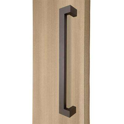 18 in. Rectangular Offset 1.5 in. x 1 in. Bronze Stainless Steel Door Pull Handleset for Easy Installation