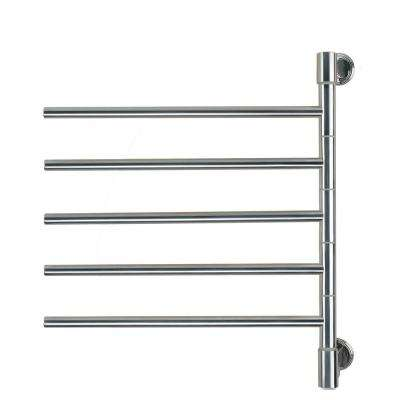 Swivel Jack Medium 5-Bar Plug-in Electric Towel Warmer in Polished Stainless Steel
