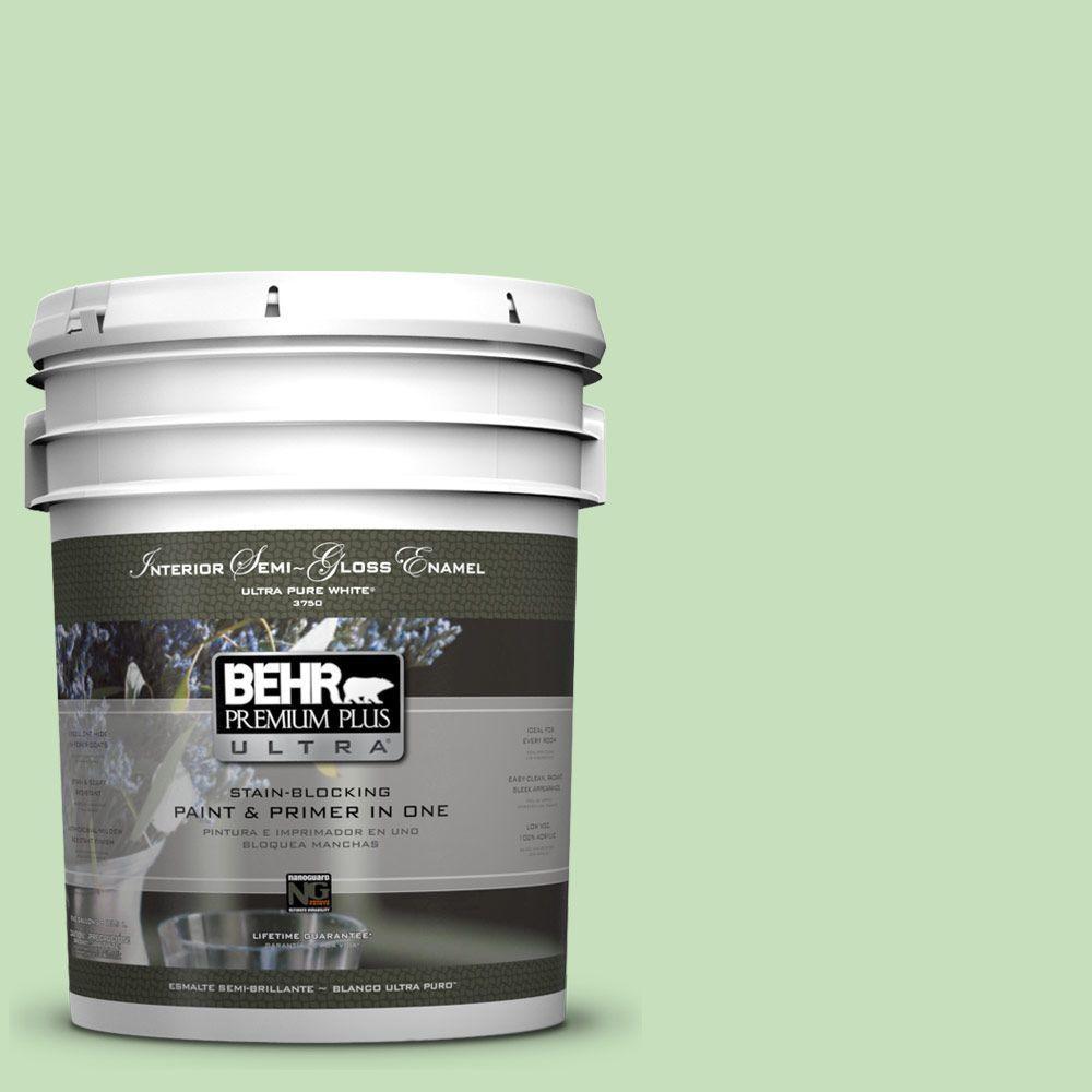 BEHR Premium Plus Ultra 5-gal. #440C-3 Rockwood Jade Semi-Gloss Enamel Interior Paint