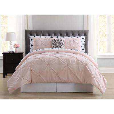 Crosses Pleated Blush Queen Bed in a Bag