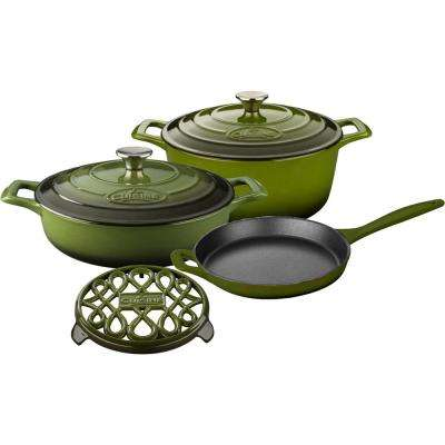PRO 6-Piece Enameled Cast Iron Cookware Set with Saute, Skillet and Round Casserole with Trivet in Green