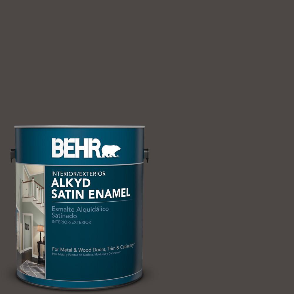 1 gal. #N530-7 Private Black Satin Enamel Alkyd Interior/Exterior Paint
