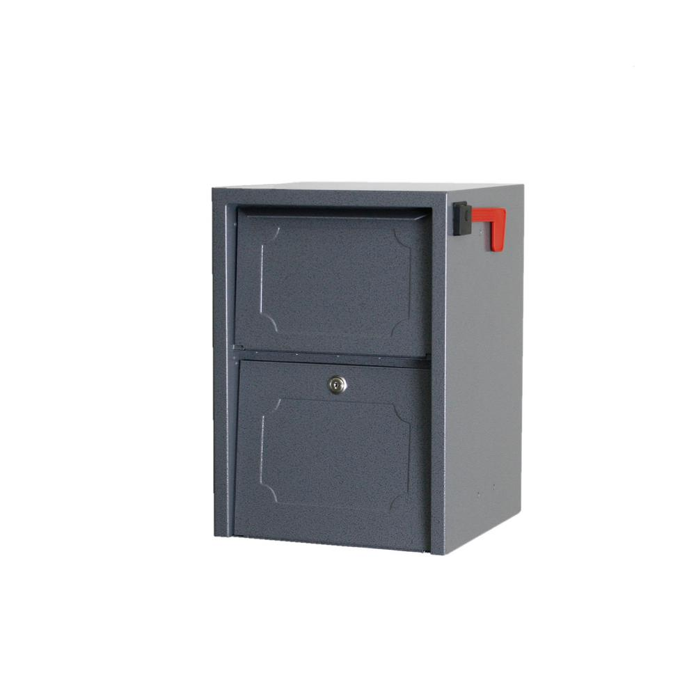 dVault Weekend Away Vault Gray Post/Column Mount Secure Mailbox