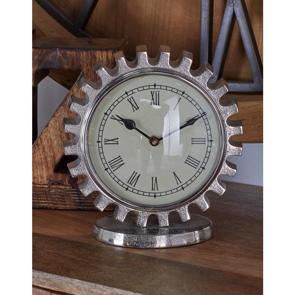 Vintage Silver Gear Table Clock