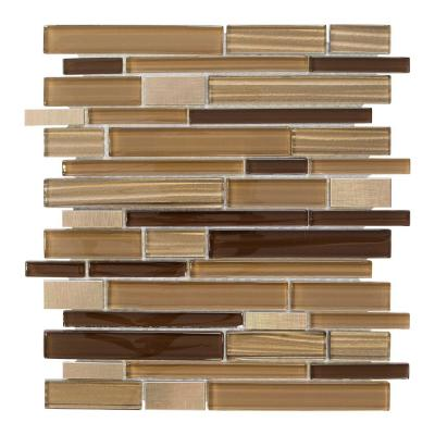 Gold Drop Brown 11.75 in. x 10.75 in. Interlocking Gloss Glass and Matte Metal Mosaic Tile (0.877 sq. ft./Each)