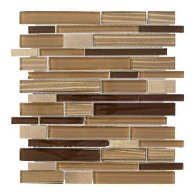 Gold Drop 11.875 in. x 12 in. x 8 mm Glass and Metal Mosaic Wall Tile