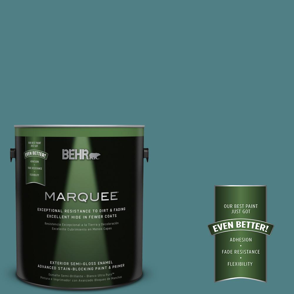 BEHR MARQUEE 1-gal. #ICC-75 Tapestry Teal Semi-Gloss Enamel Exterior Paint