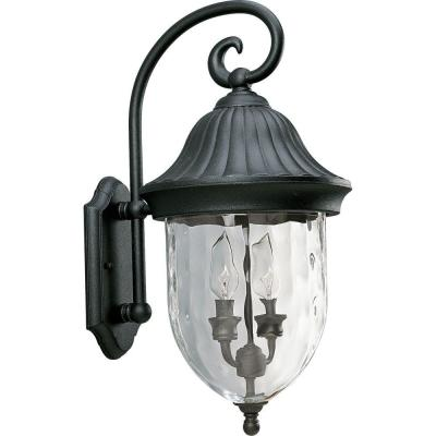 Coventry Collection 2-Light Textured Black Outdoor Wall Lantern