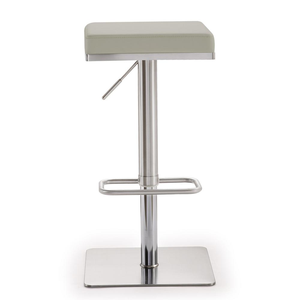 Tov Furniture Bari Light Grey Steel Adjule Barstool
