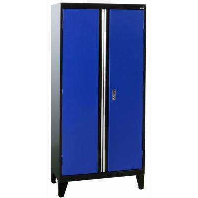 36 in. W x 18 in. D x 79 in. H Modular Steel 2-Door Cabinet, Full Pull in Black/Blue