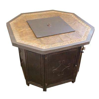 36 in. Octagon Fire Pit with Decorative Faux Tile Table Top