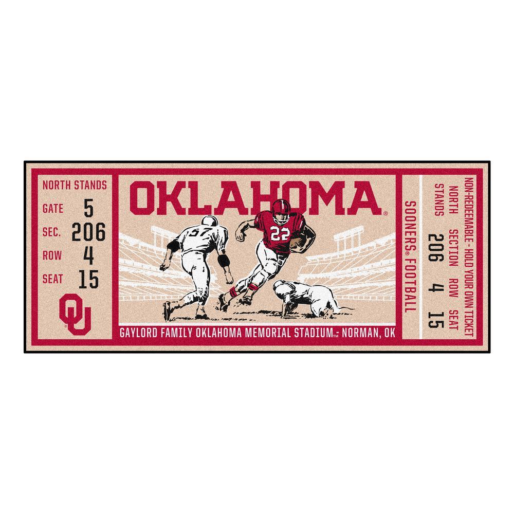 NCAA University of Oklahoma 30 in. x 72 in. Indoor Ticket Runner Rug
