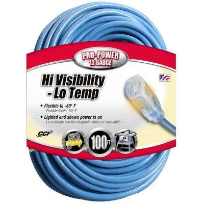100 ft. 12/3 SJTW Hi-Visibility/Low-Temp Outdoor Heavy-Duty Extension Cord with Power Light Plug
