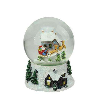 6.75 in. Christmas Musical and Animated Santa and Reindeer Rotating Water Globe