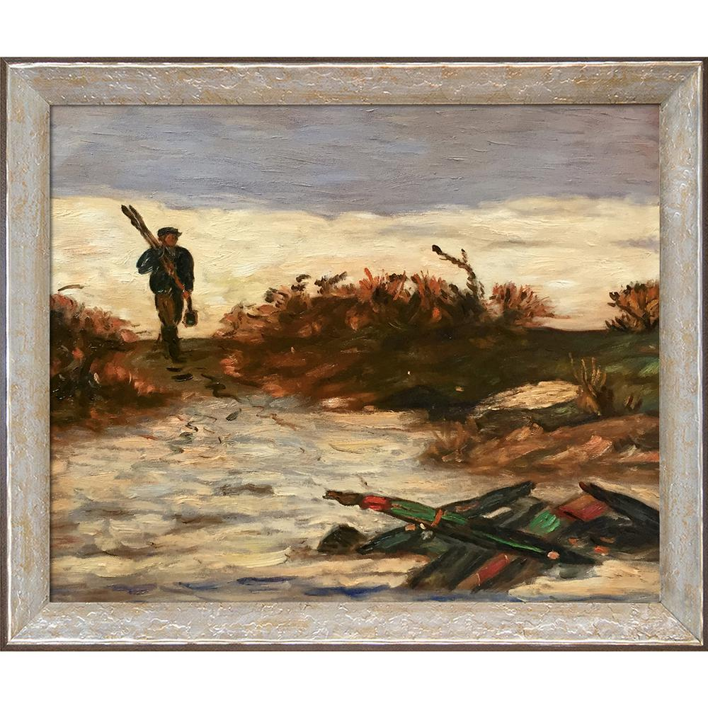LA PASTICHE 24 in. x 28 in. Fisherman by Water with Silver Luna by Edward Mitchell Bannister Framed Wall Art, Multi-Colored was $748.0 now $411.06 (45.0% off)