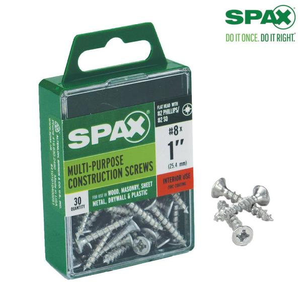 #8 x 1 in. Philips Square Drive Flat-Head Full Thread Zinc Coated Multi-Material Screw (30 per Box)