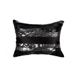 Torino Madrid Cowhide 12 in. x 20 in. Black and Silver Pillow