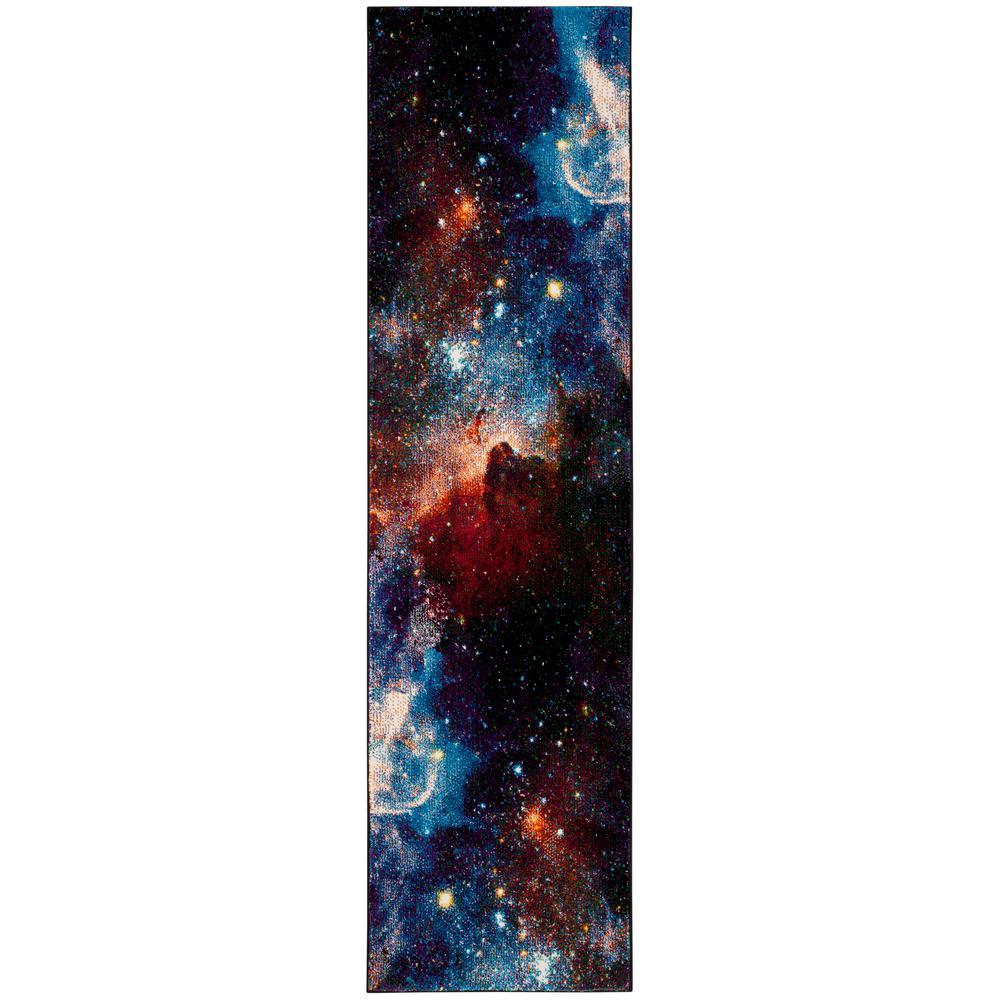 Galaxy Purple/Multi 2 ft. x 8 ft. Runner Rug