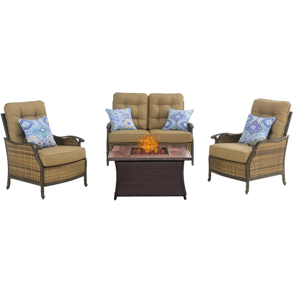 Hudson Square 4-Piece Patio Fire Pit Conversation Set with Wood Grain