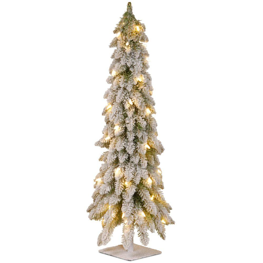 National Tree Company 4 Ft Snowy Downswept Forstree Artificial Christmas With Metal Plate And Clear Lights