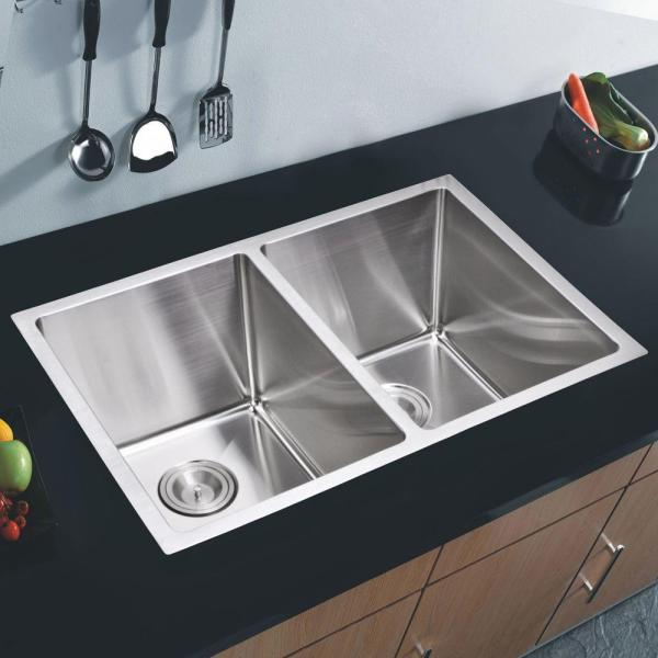 Water Creation Undermount Small Radius Stainless Steel 31 In 0 Hole Double Bowl Kitchen Sink In Satin Finish Ss U 3118a The Home Depot