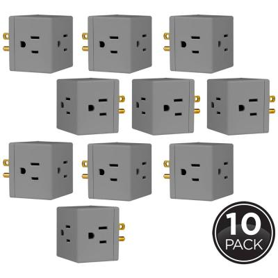 3-Outlet Grounded Tap Adapter, Gray (10-Pack)
