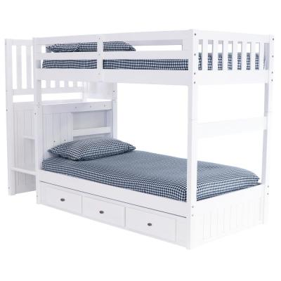 Casual White Collection White Twin OverTwin Staircase Bunk Bed with 4-Drawer Chest and 3-Underbed Drawers