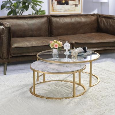 Shanish 2-Piece Pack Faux Marble and Gold Nesting Table Set