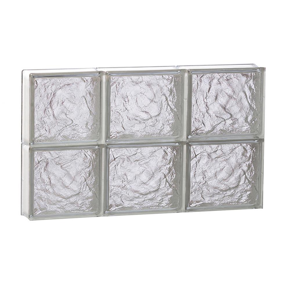 23.25 in. x 15.5 in. x 3.125 in. Frameless Ice Pattern Non-Vented Glass Block Window